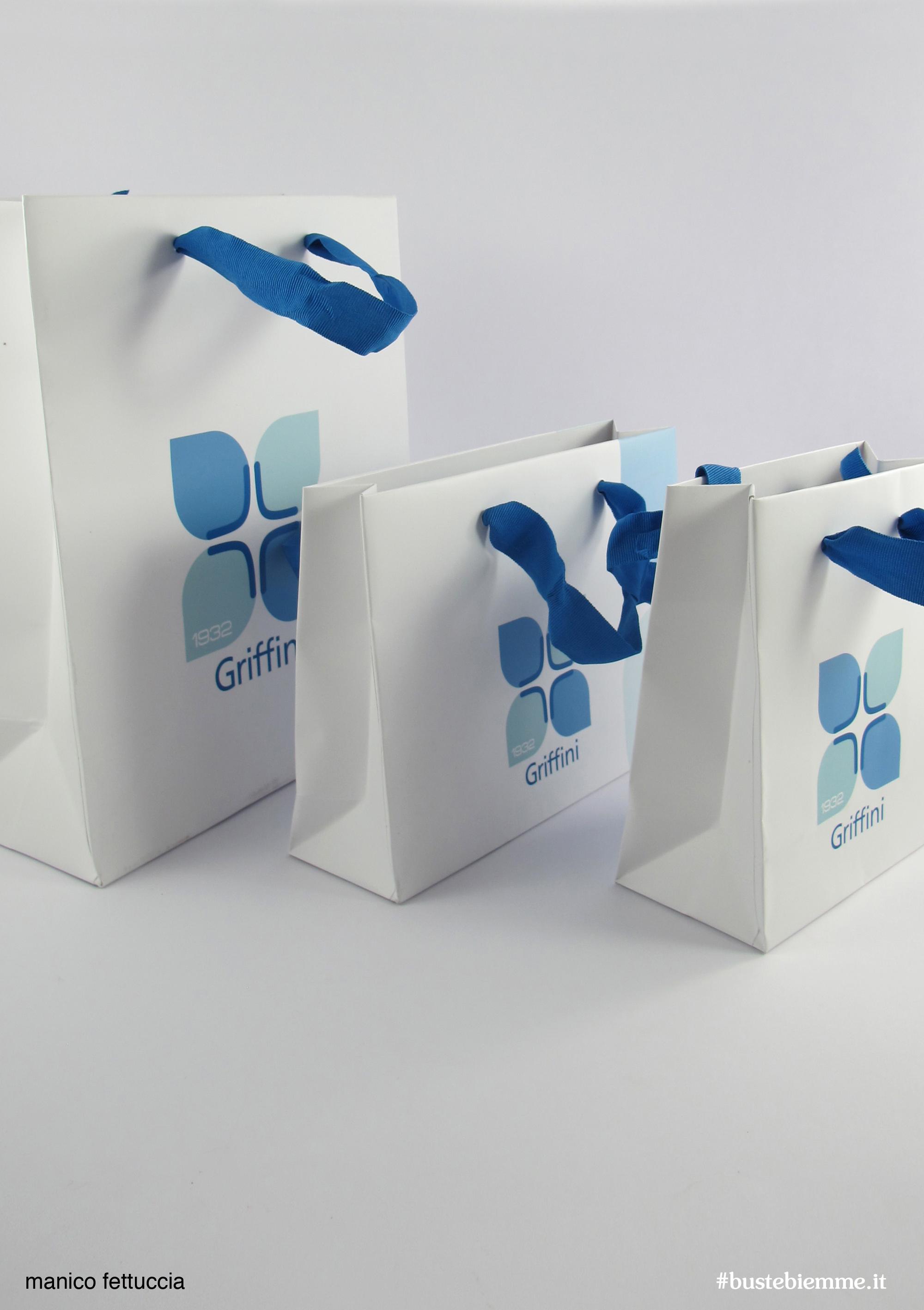 shopper in carta manici in tessuto - Fettuccia Spigata