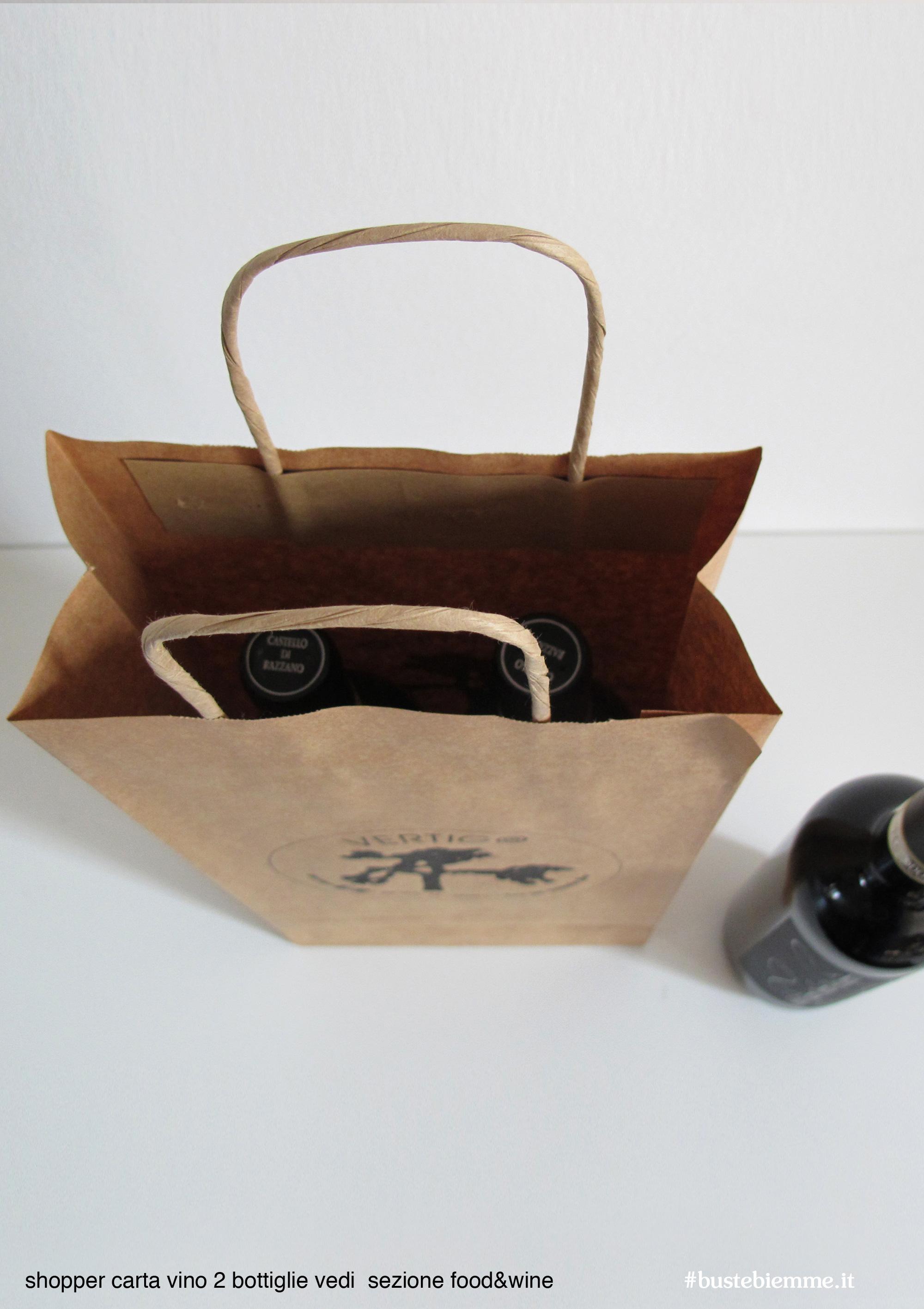 shopper in carta - maniglia in carta - ritorta - per due bottiglie di vino