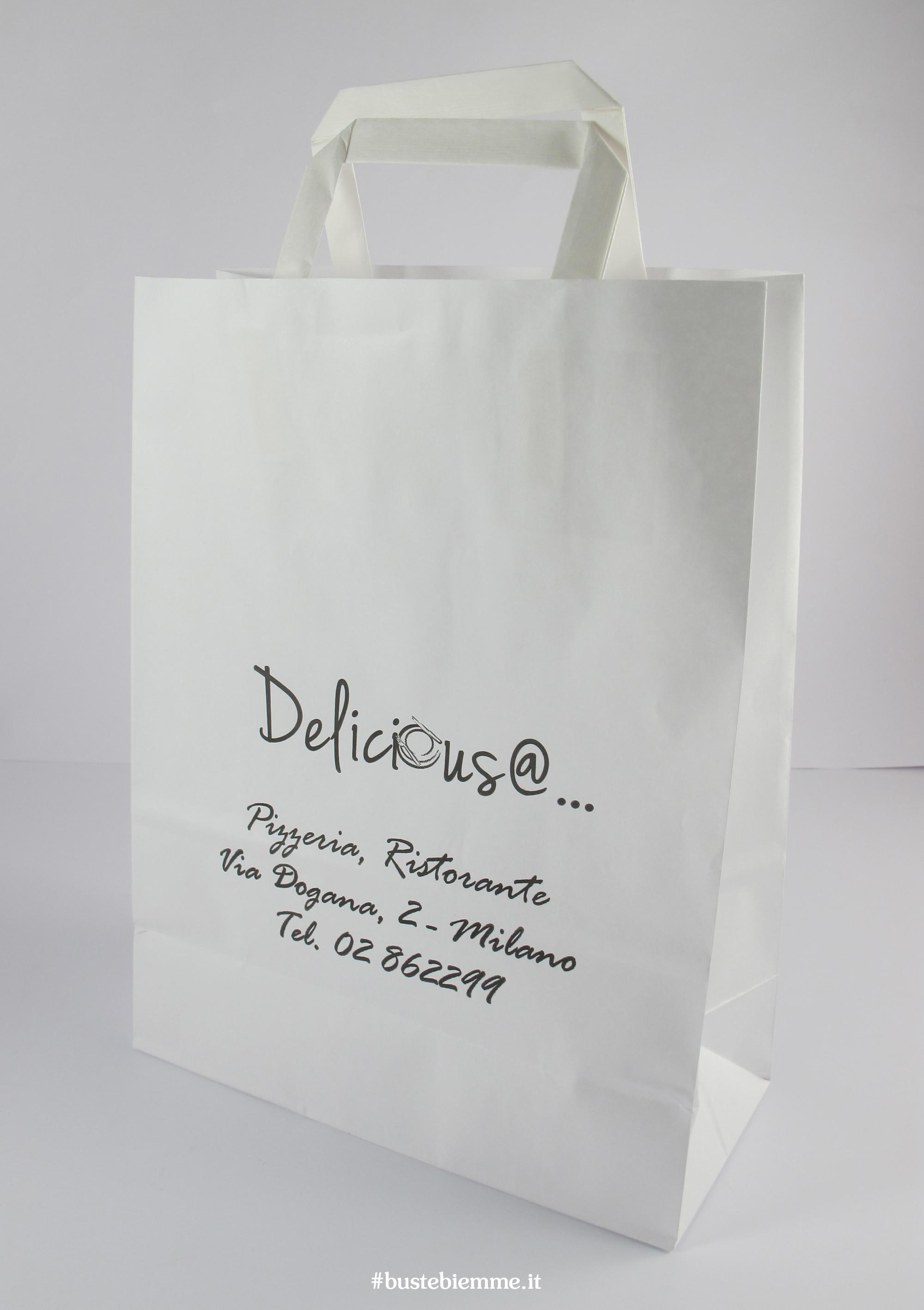 shopper in carta - sovrastampato - maniglia in carta - piattina