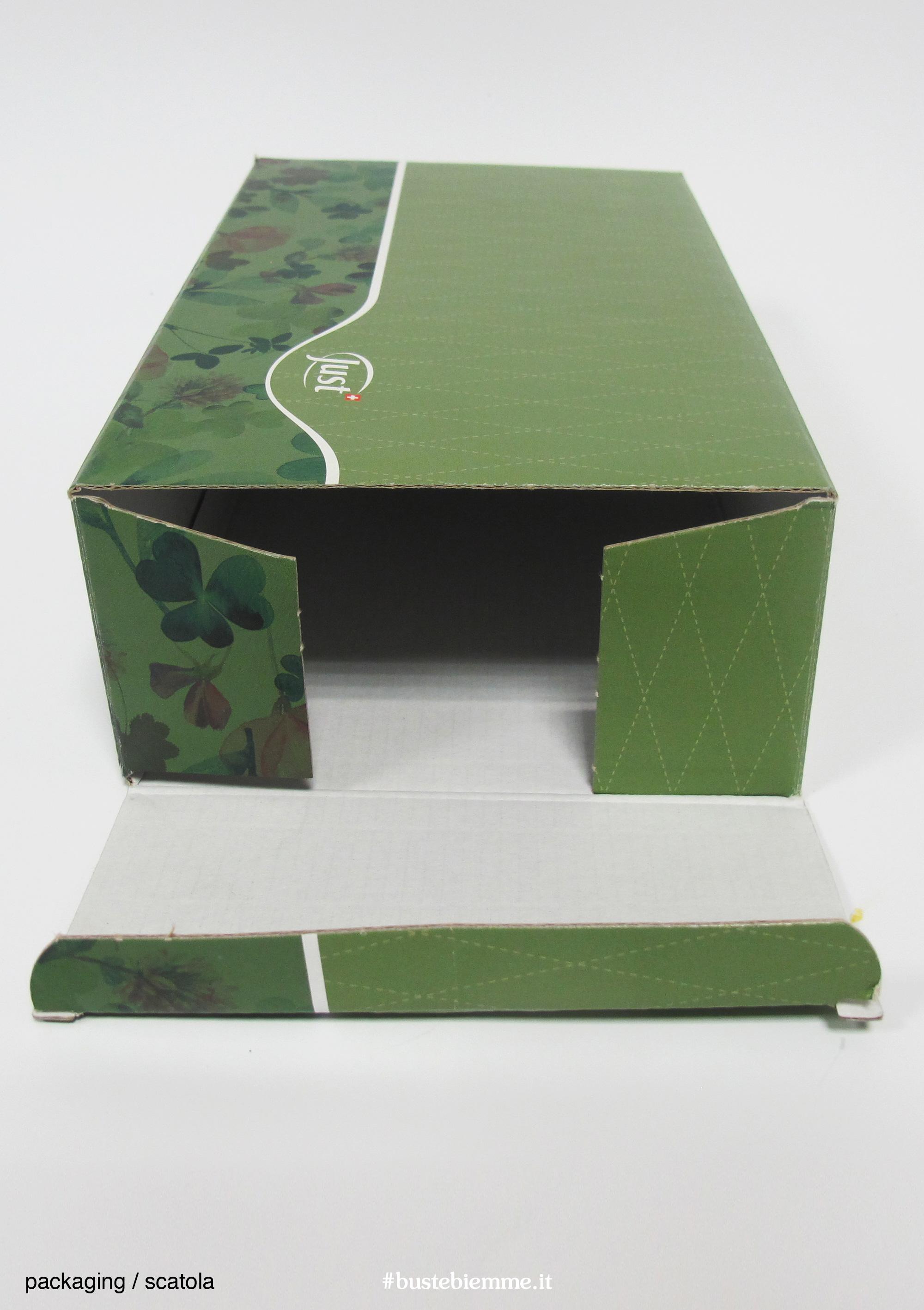 scatola automontante personalizzata con chiusura a libro