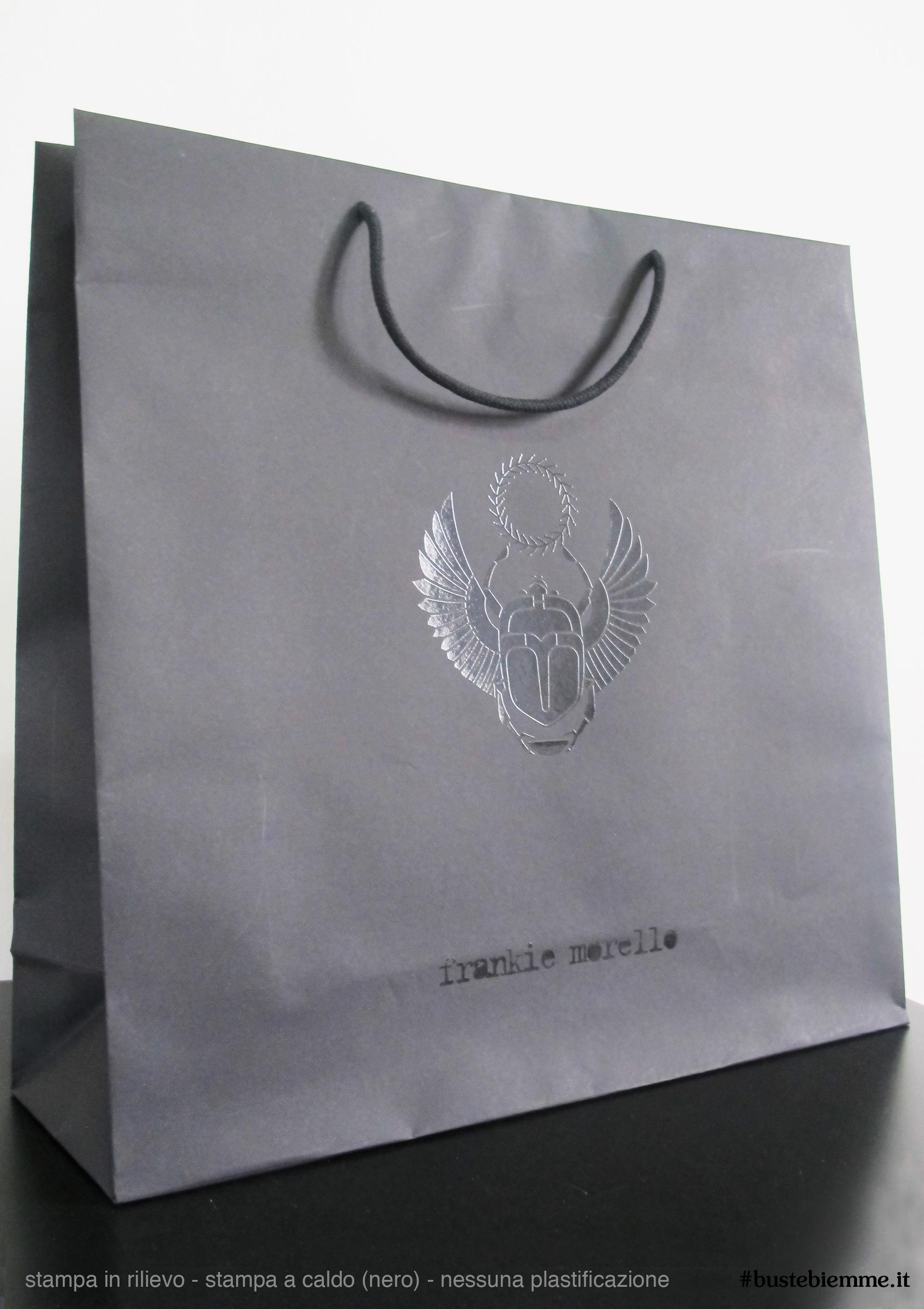 shopper in carta manici in tessuto con stampa a caldo nero e nessuna plastificazione