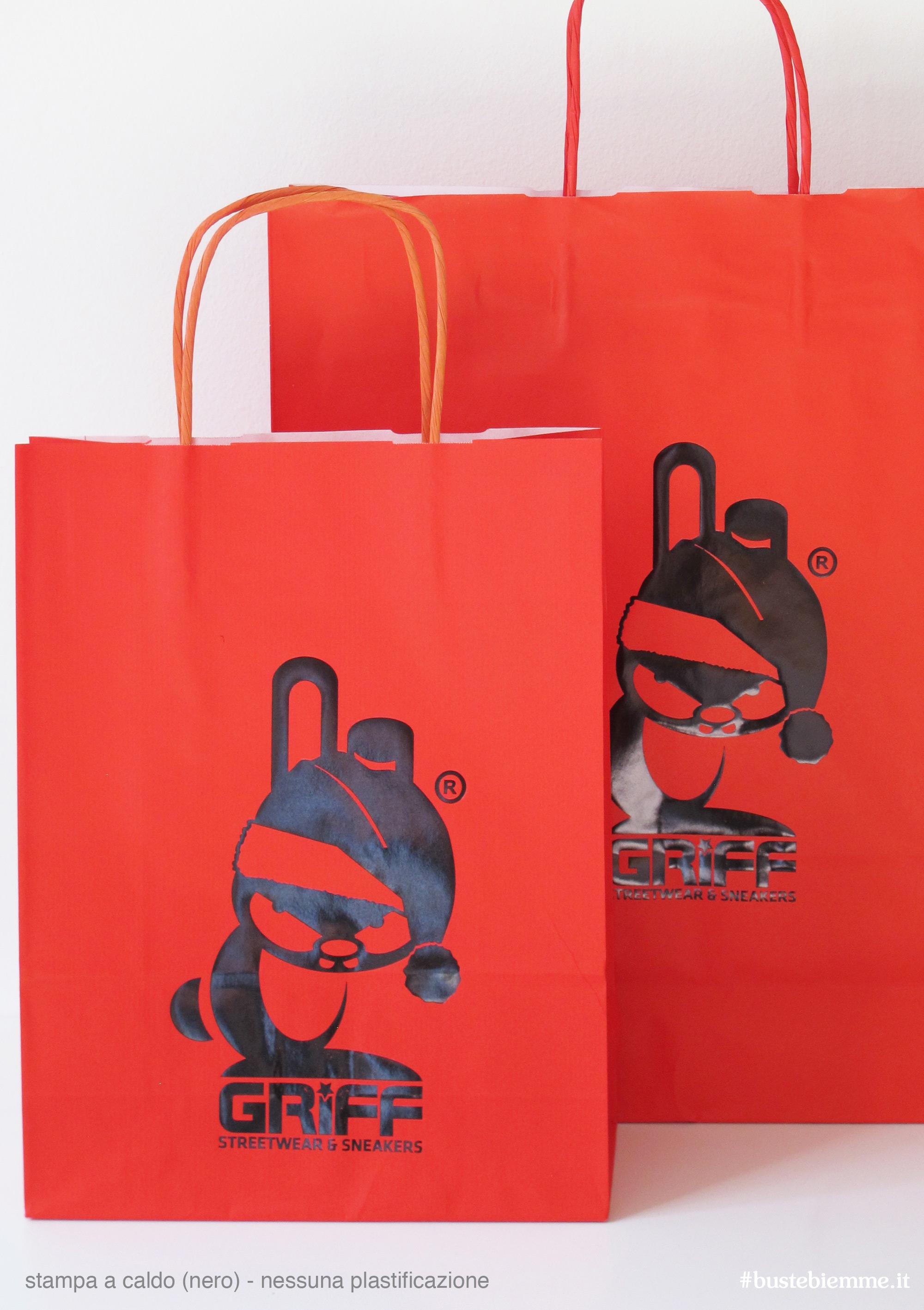 shopper in carta manici in carta con stampa a caldo nera