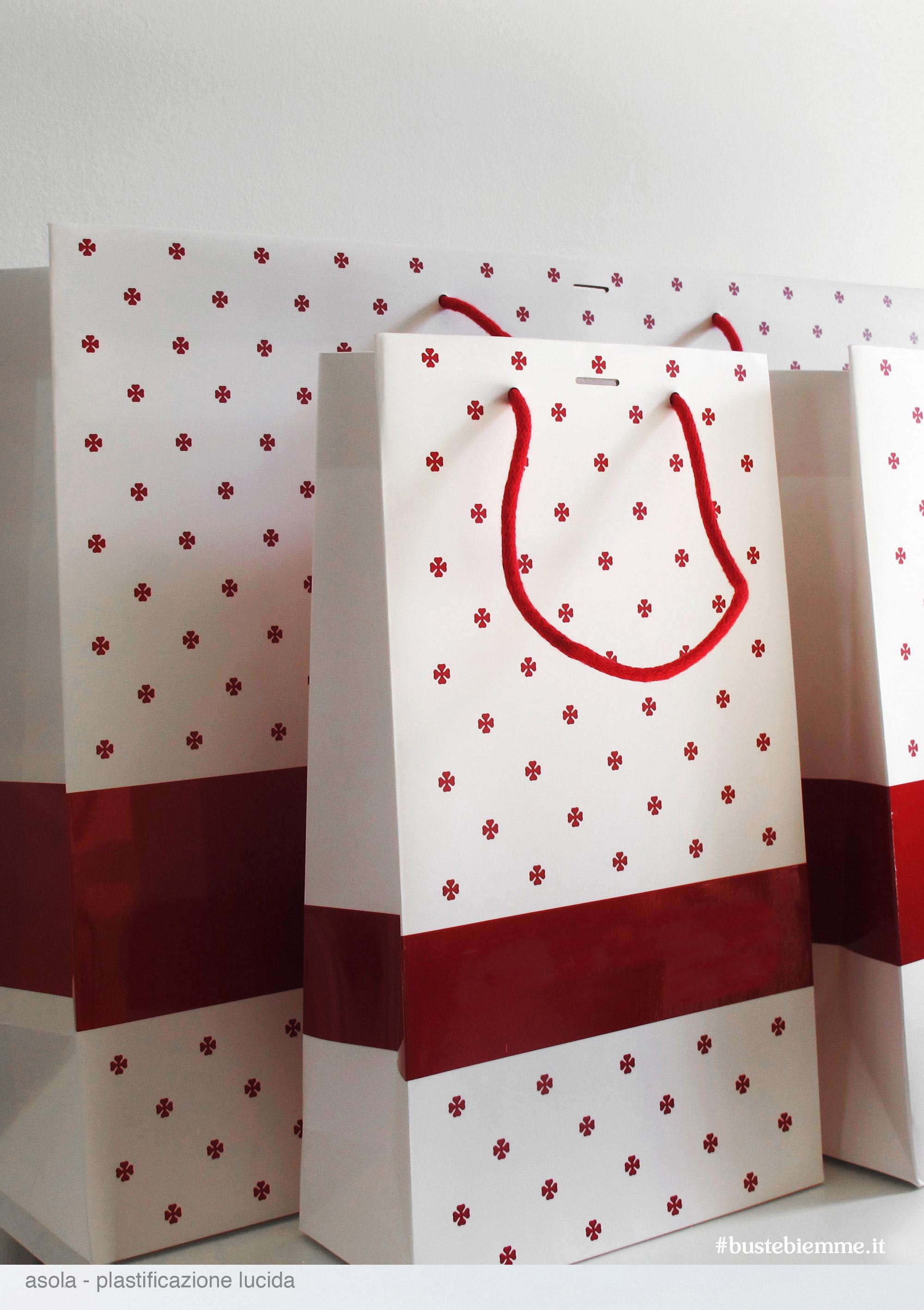 shopper in carta manici in tessuto - plastificazione lucida - asola