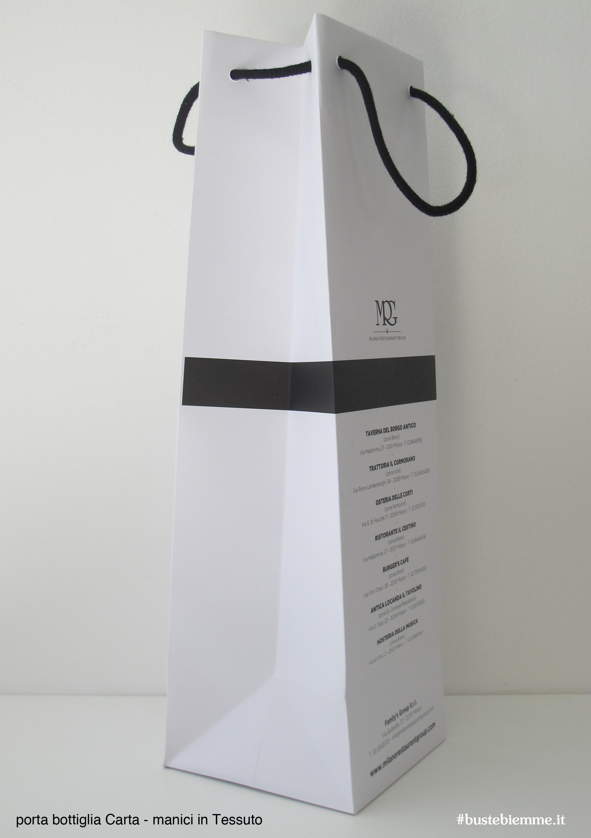 shopper porta bottiglie in carta con manici in tessuto