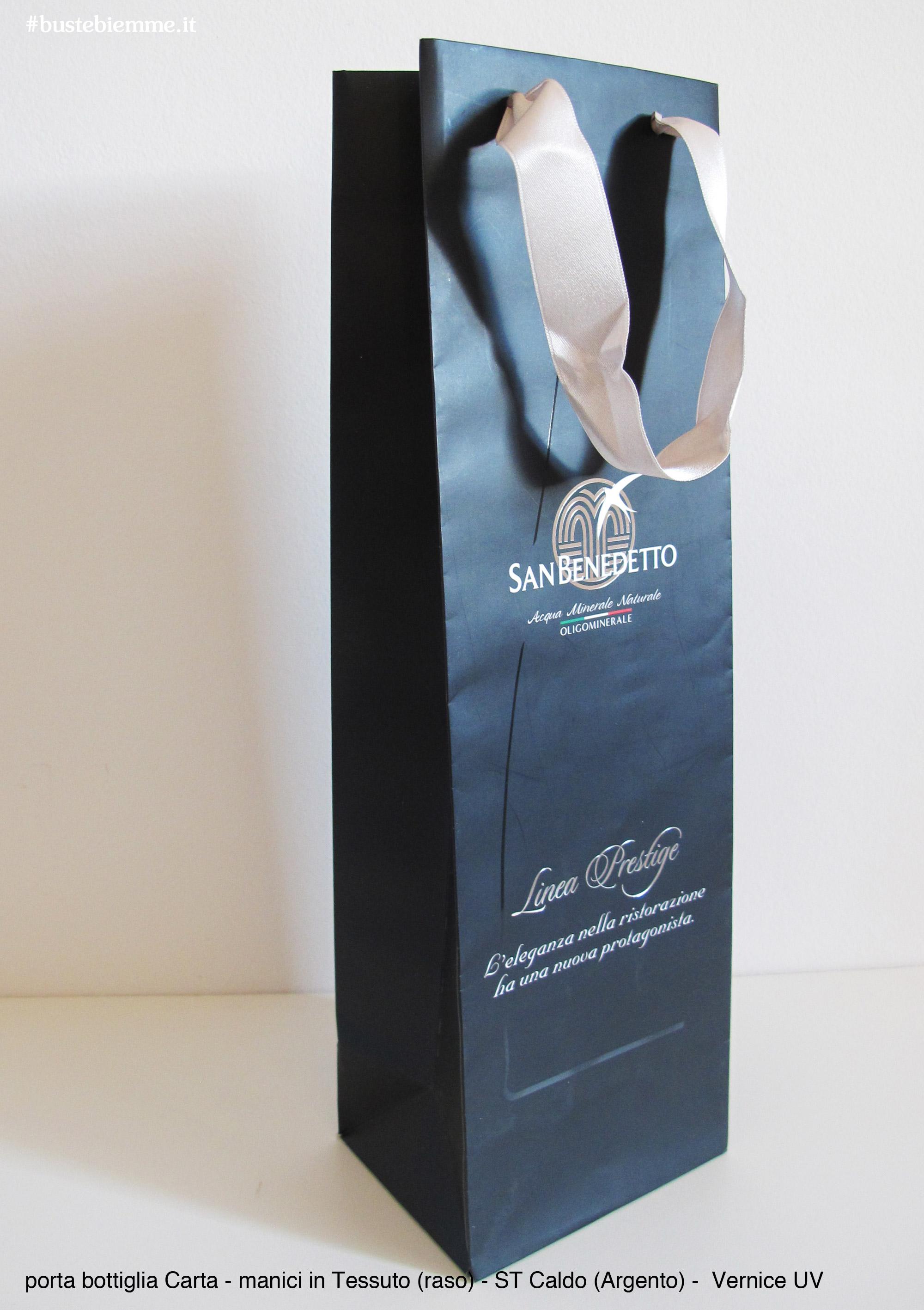 shopper porta bottiglie in carta con manici in tessuto personalizzato