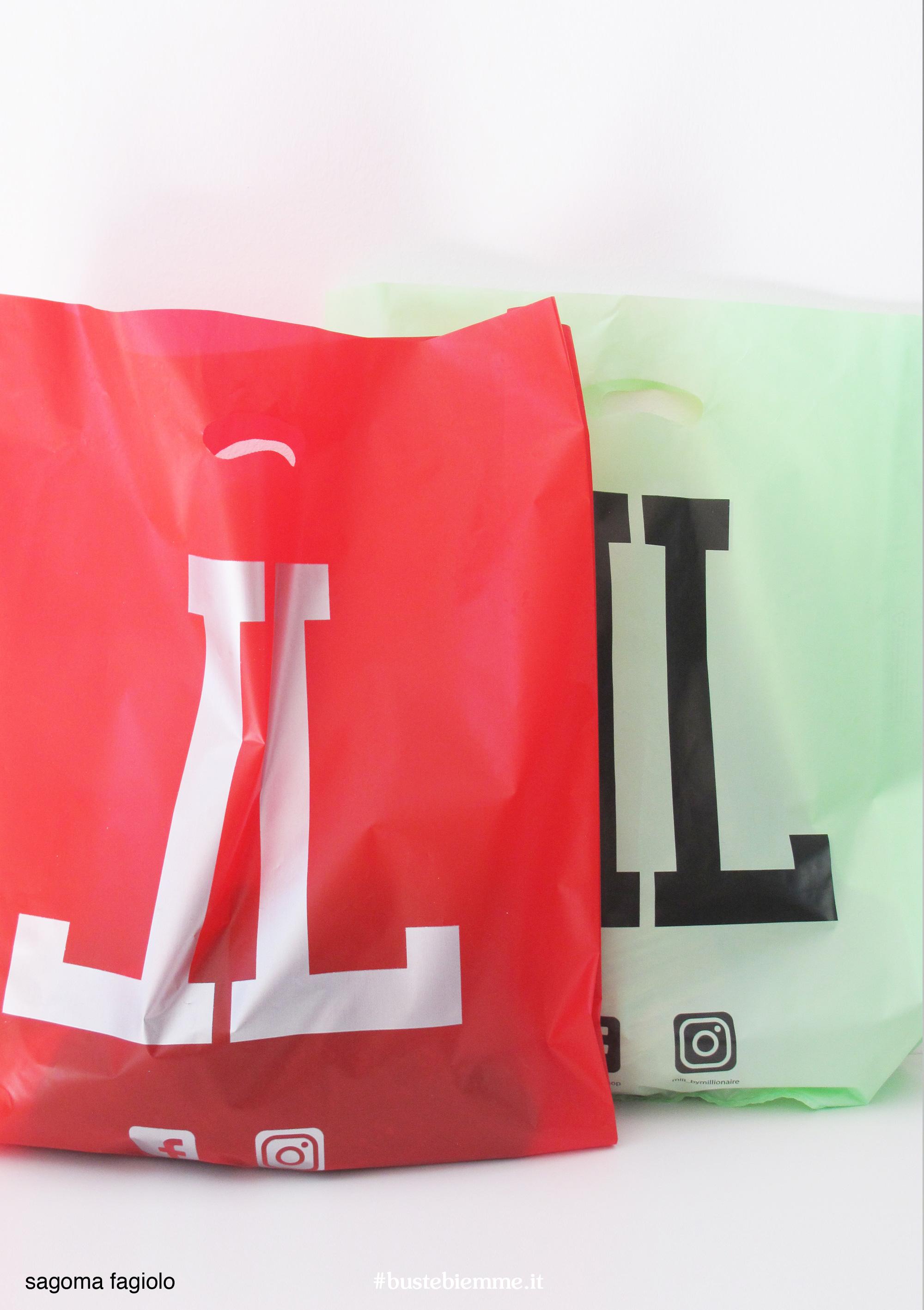 sacchetto in plastica personalizzato con maniglia fustellata