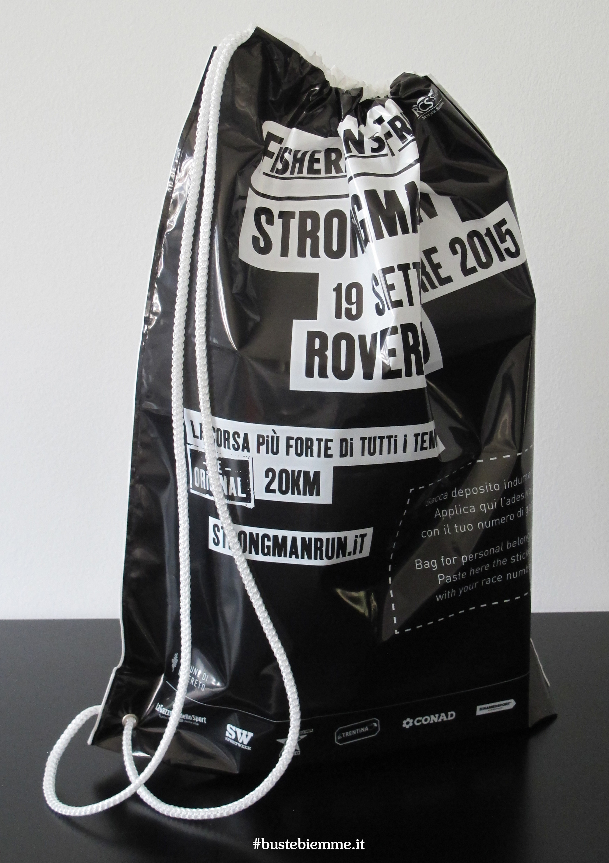 sacca zaino in plastica personalizzata con tracolla in cotone