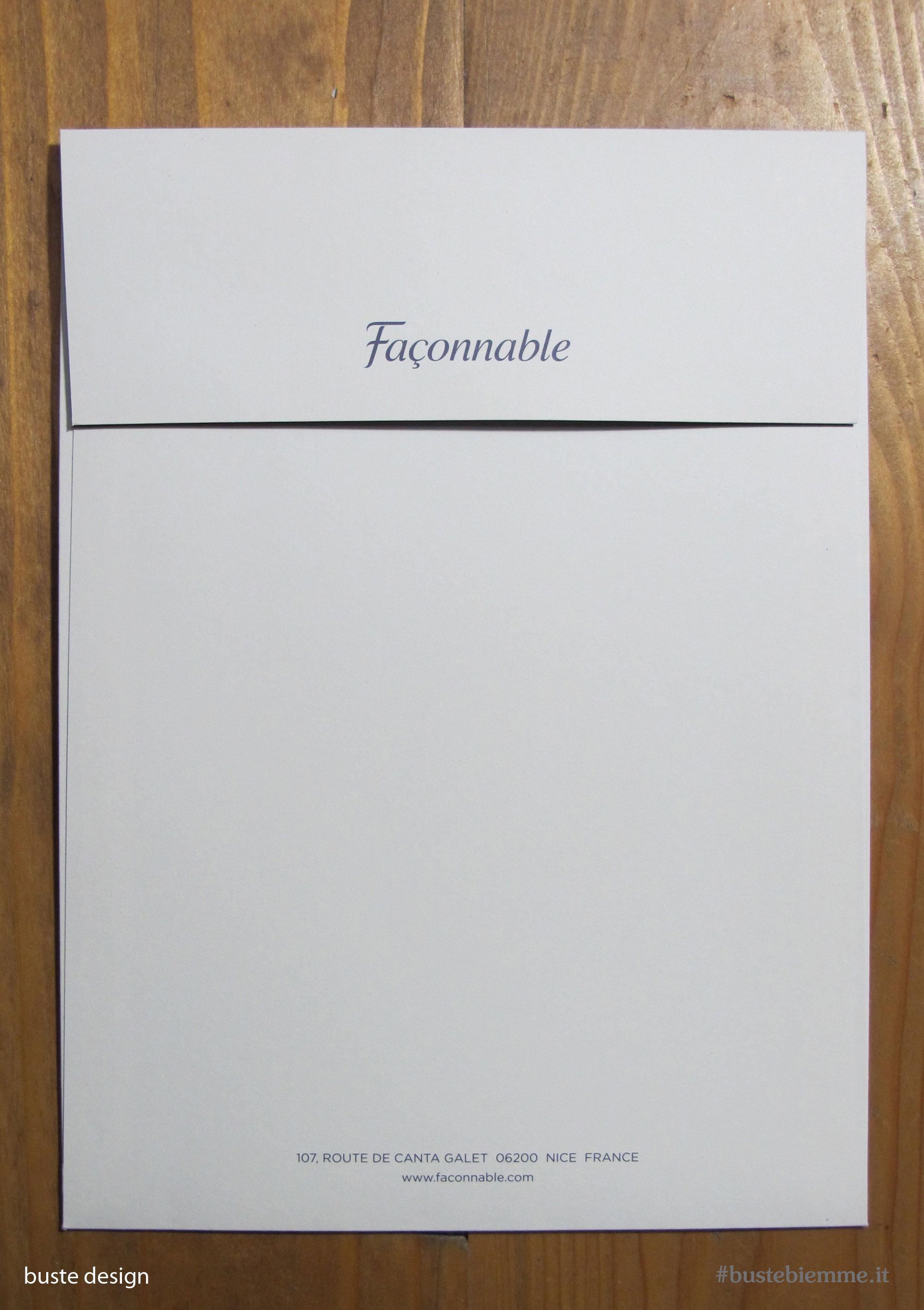 busta design con carta soft touch