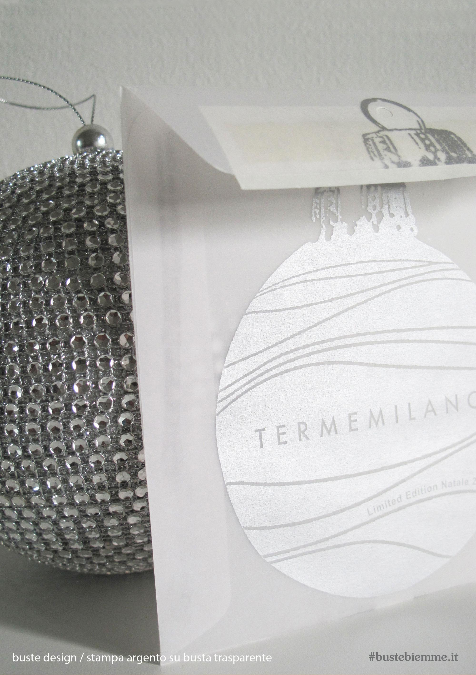 busta design con carta trasparente e stampa argento