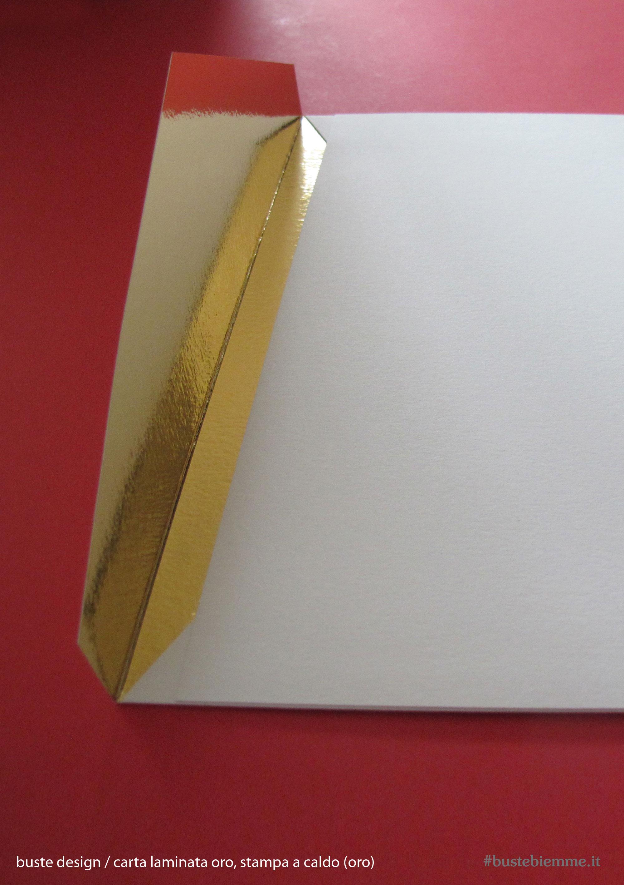 busta design con carta accoppiata metallizzata