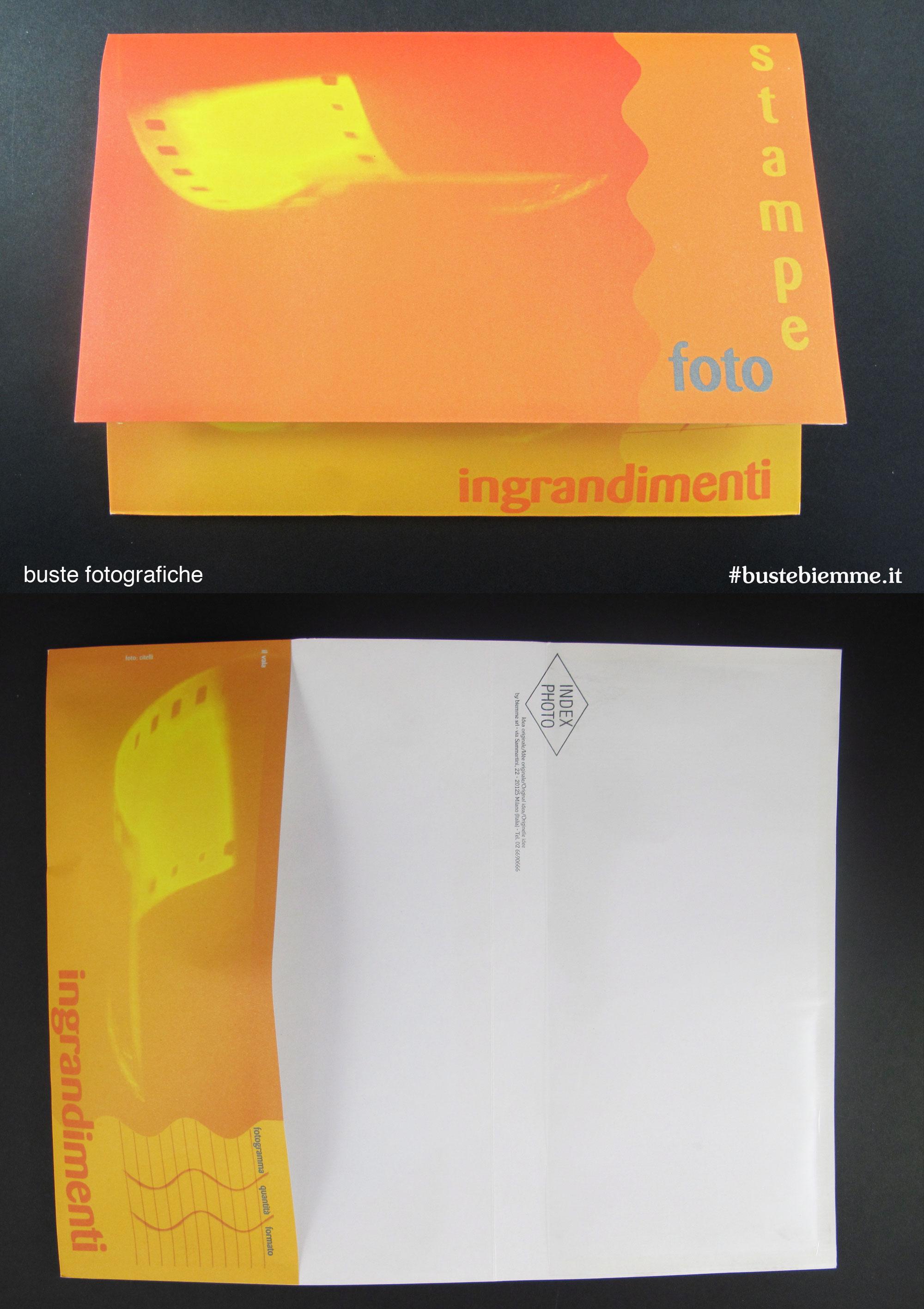 busta fotografica in carta di lavorazione e consegna foto