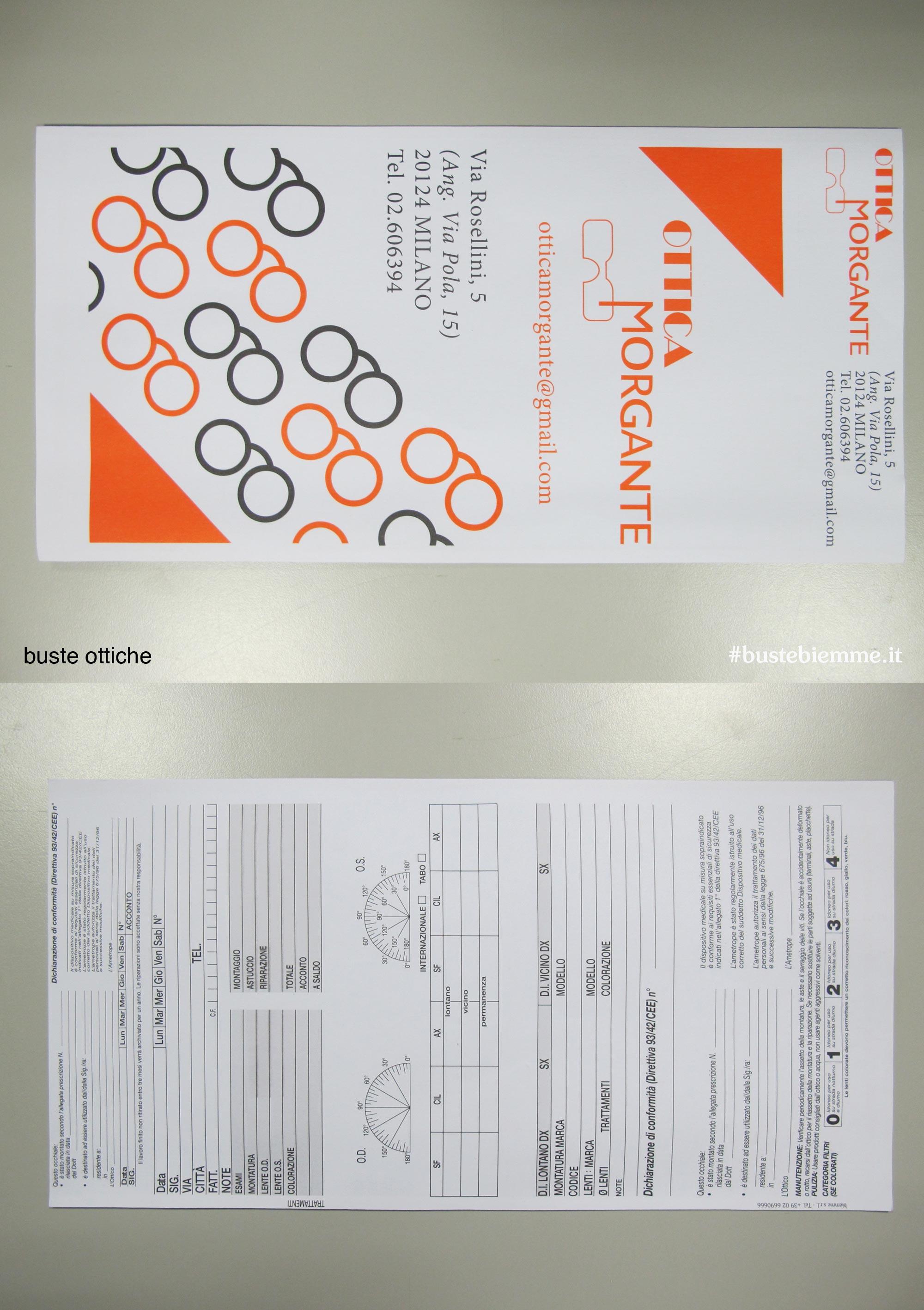 busta ottica in carta per la riparazione o realizzazione di occhiali