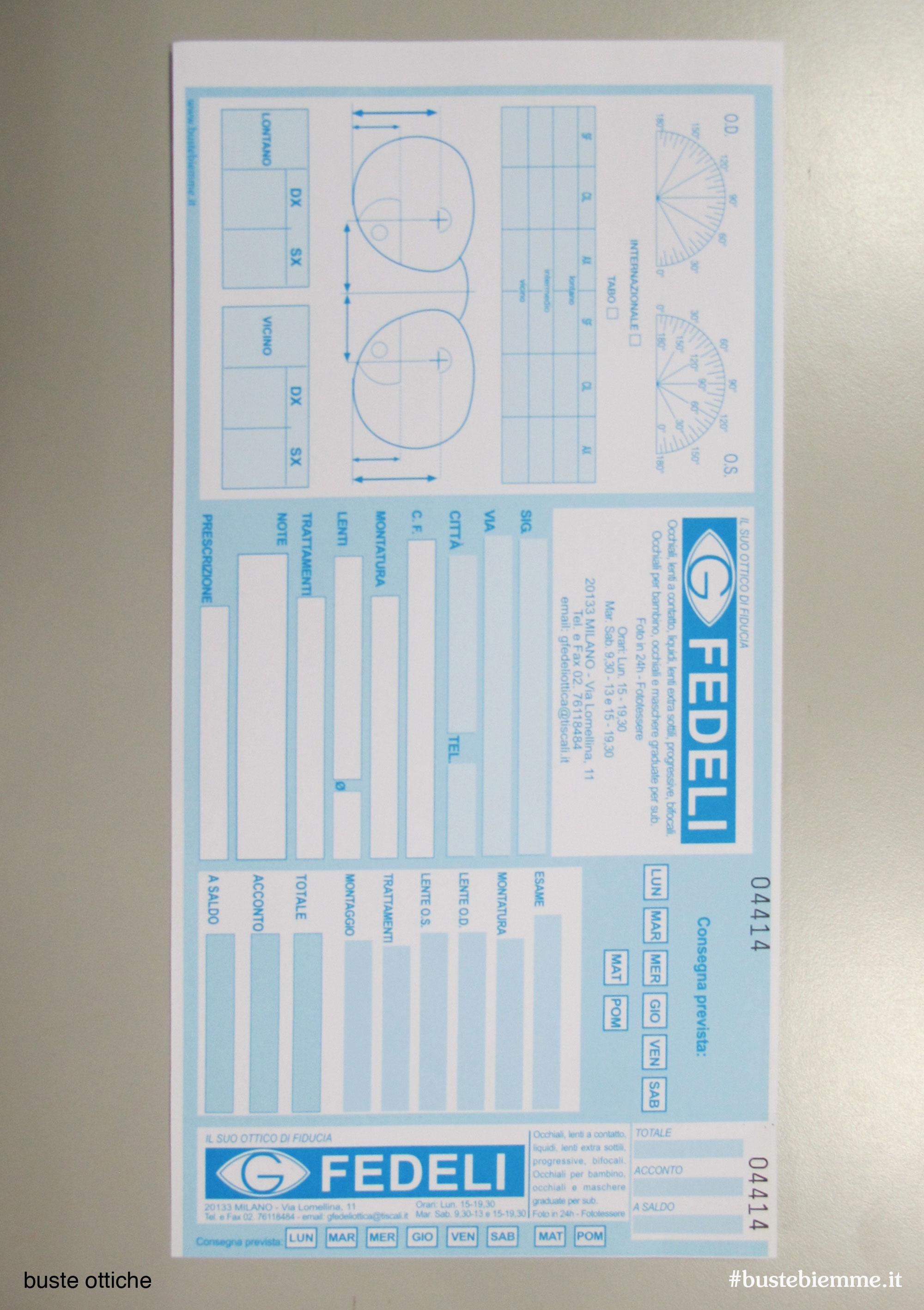 buste ottica in carta per la riparazione o realizzazione di occhiali