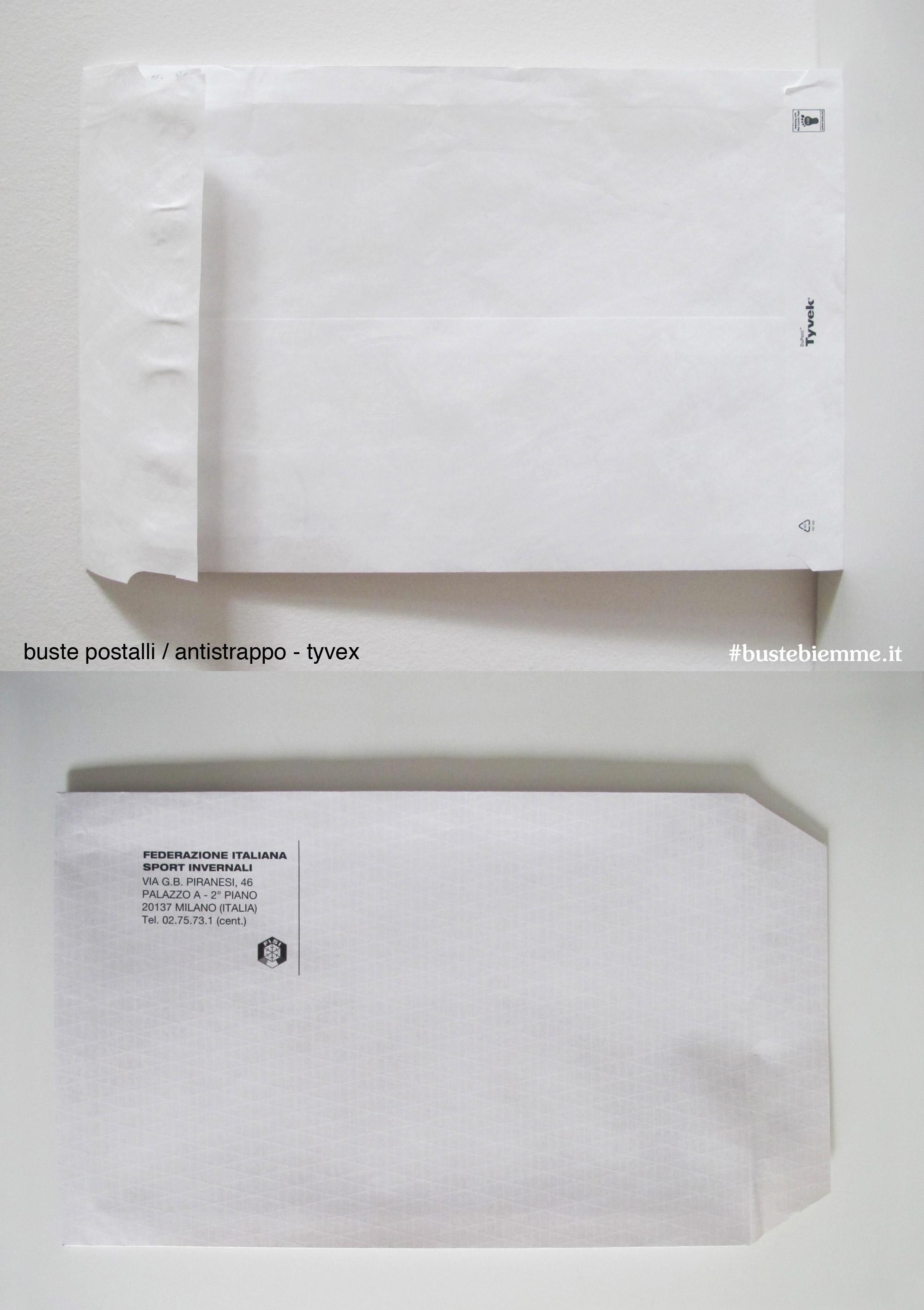 busta antistrappo in carta Tyvec e con trame di nylon