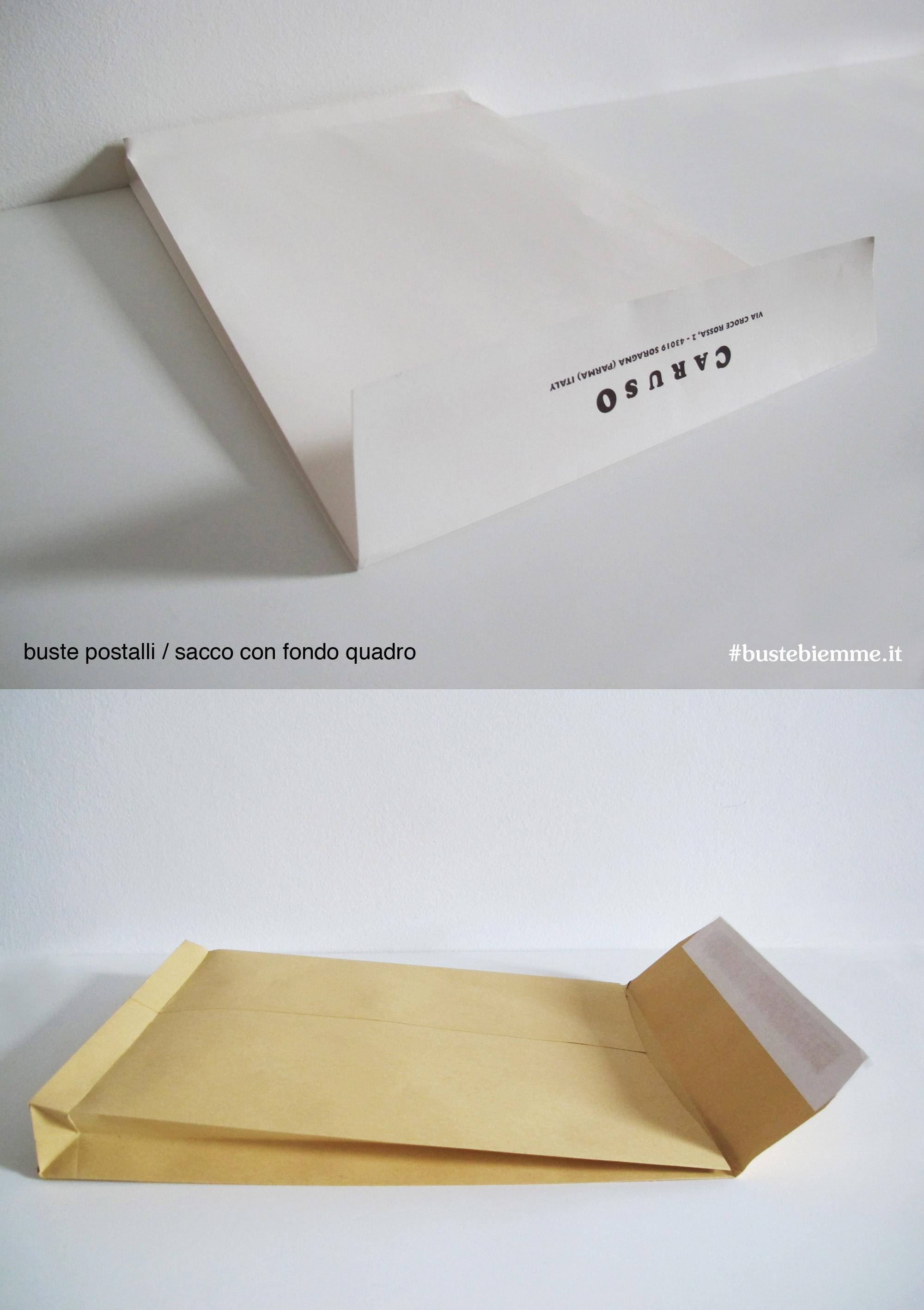 busta a sacco con fondo quadro personalizzata