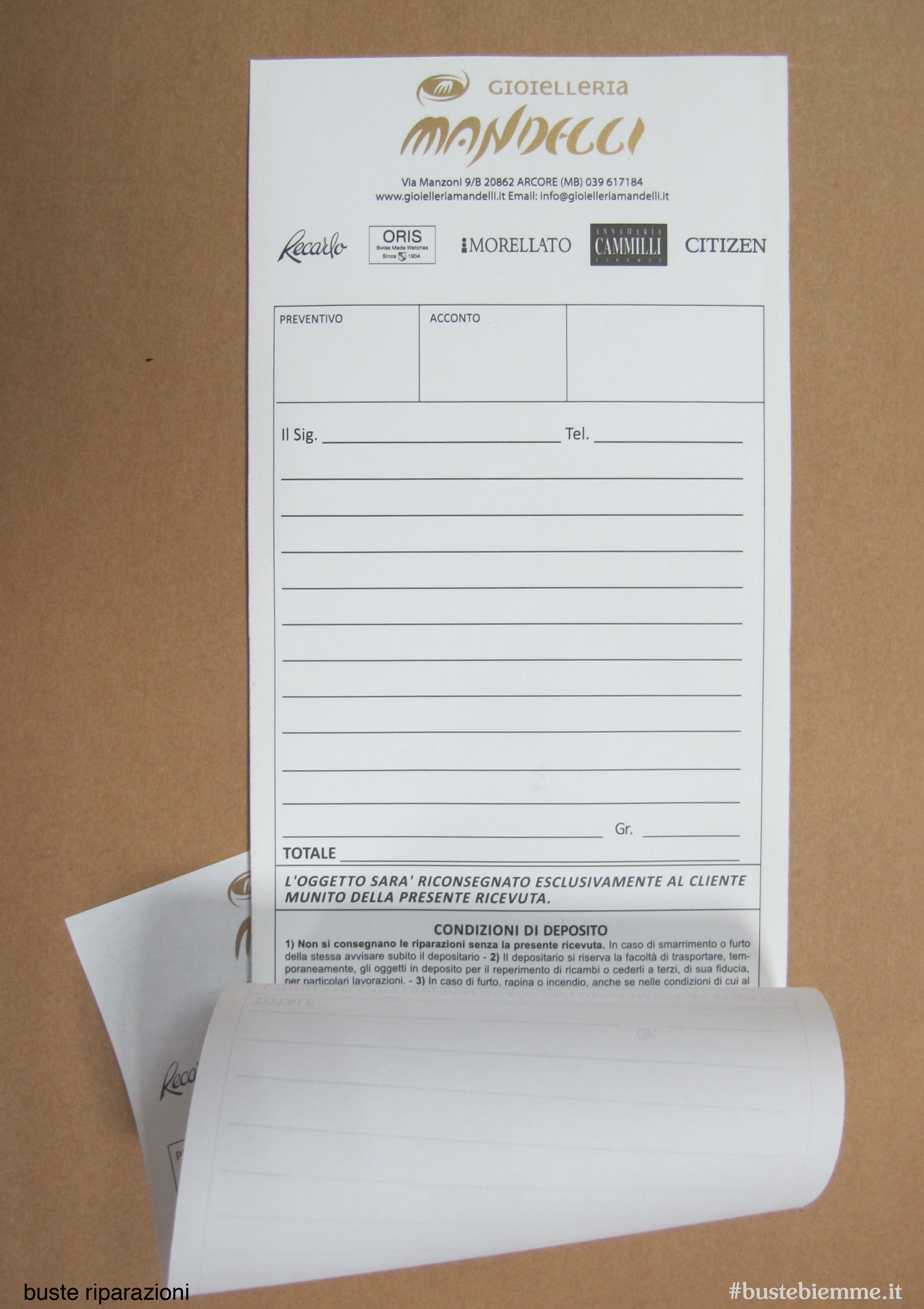 busta in carta per la riparazione gioielli con fogli di carta copiativa staccabile, numerazione progressiva e tagliando di ricevuta