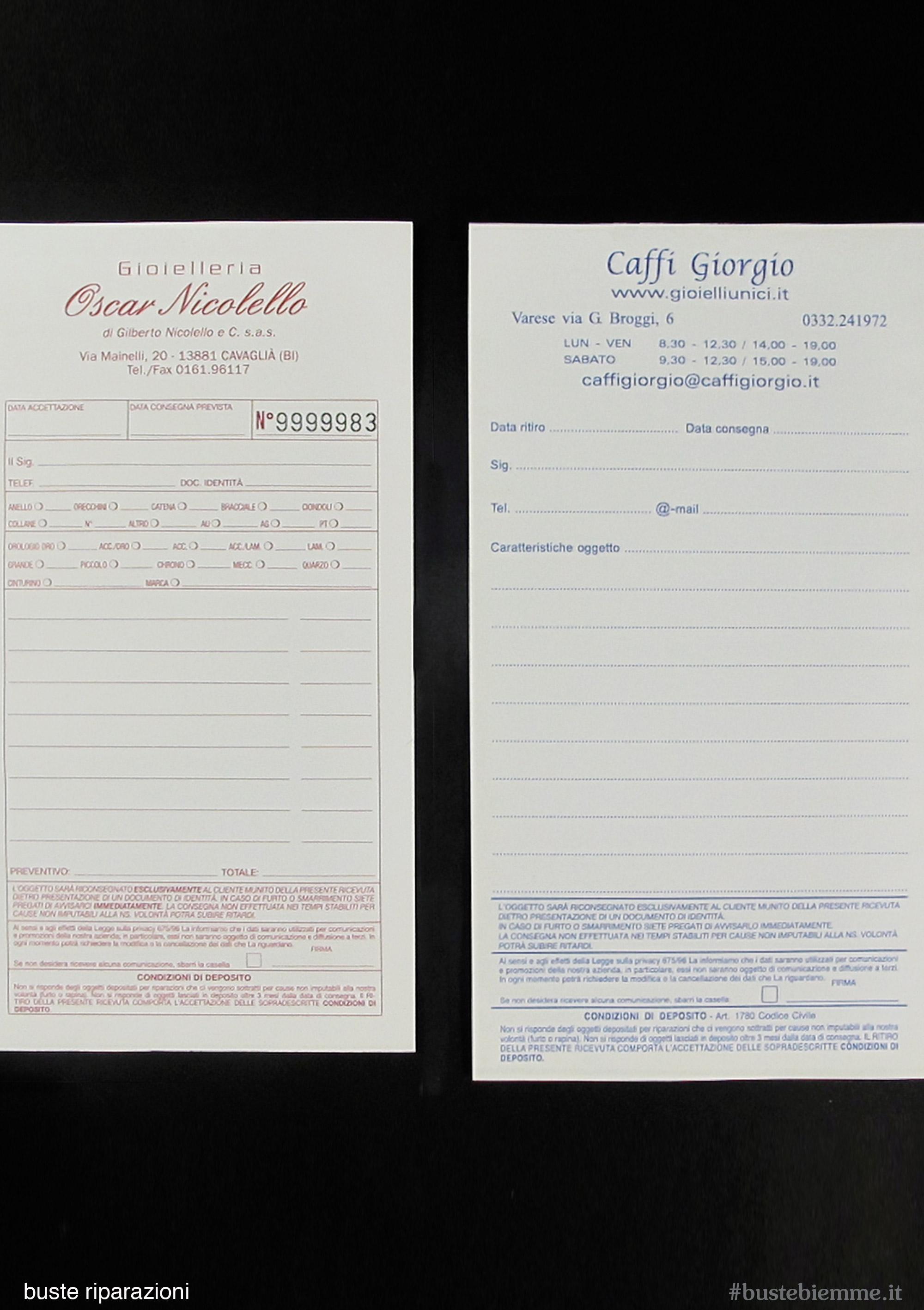 busta riparazione con carta copiativa staccabile