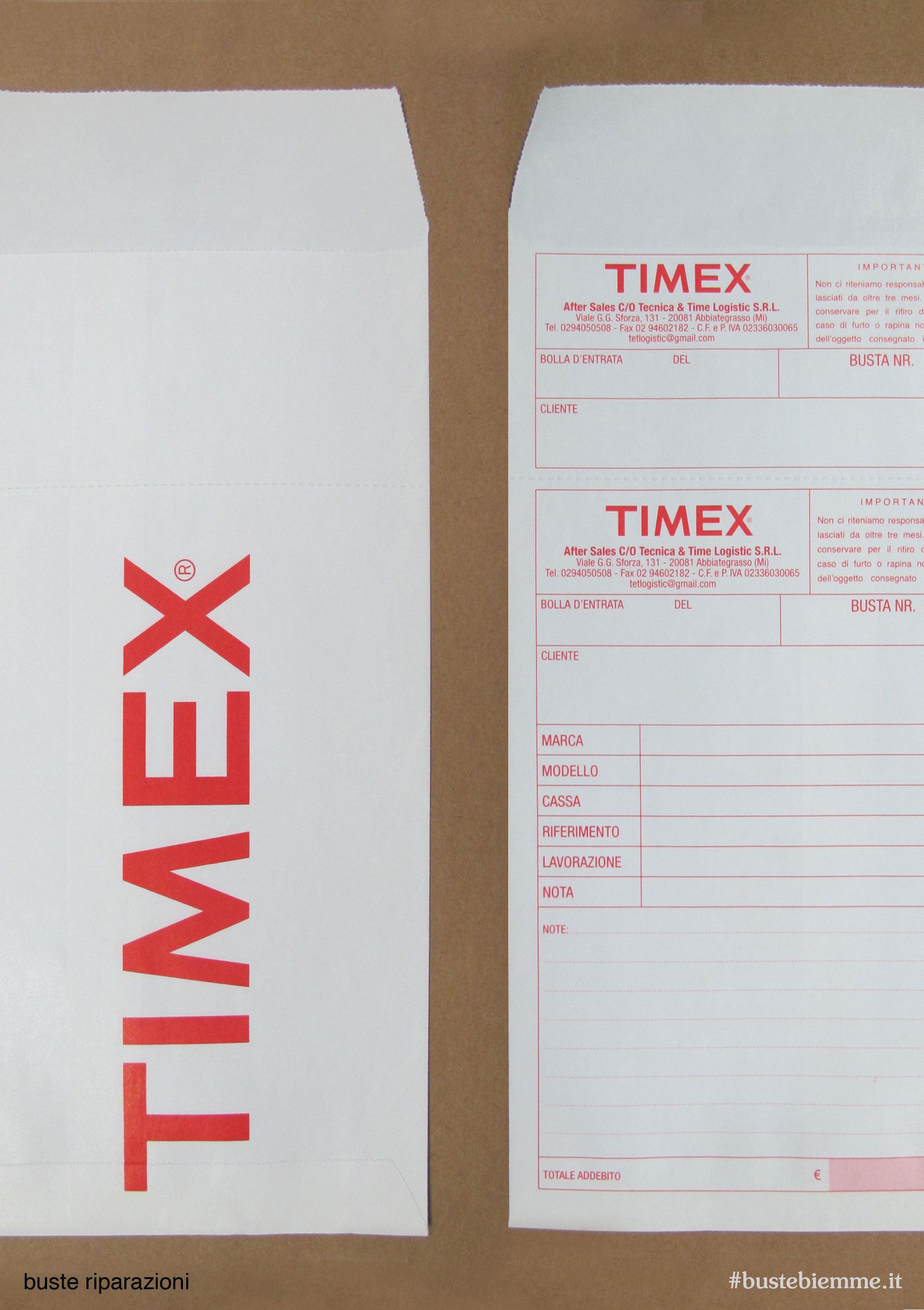 busta in carta per la riparazione di orologi con numerazione progressiva e tagliando di ricevuta