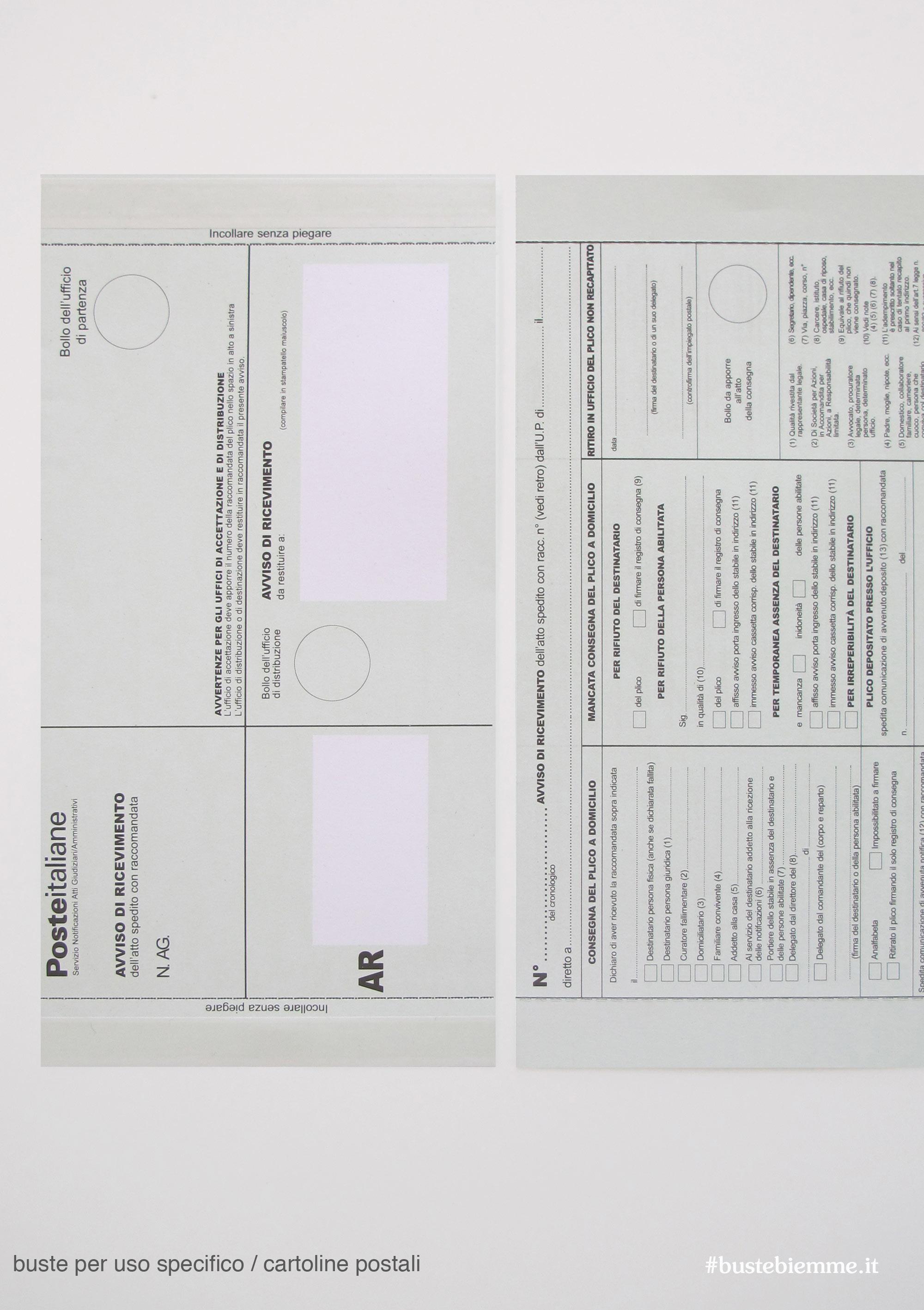 cartoline postali avviso di ricevimento