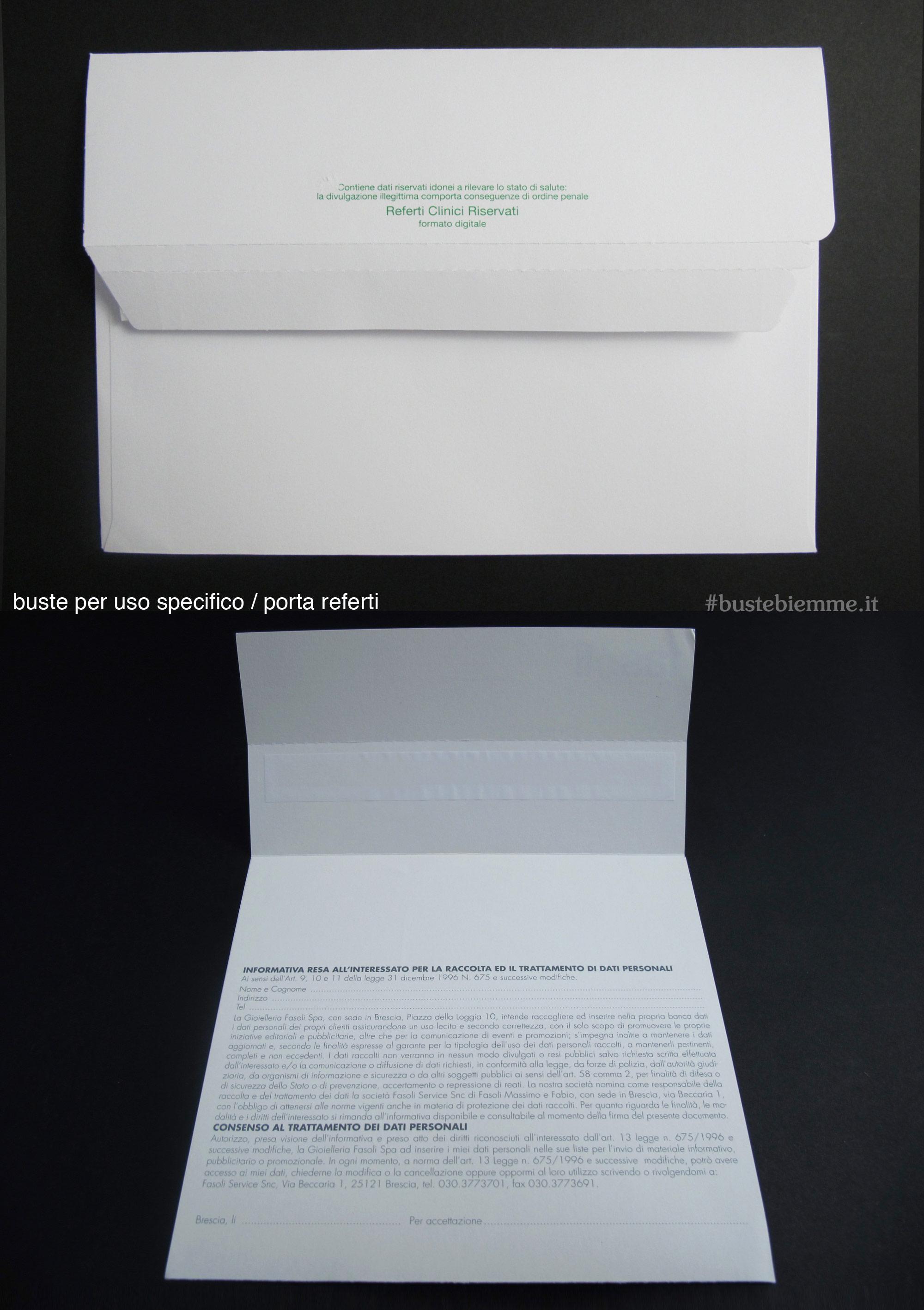 busta porta referti in carta strip adesivo