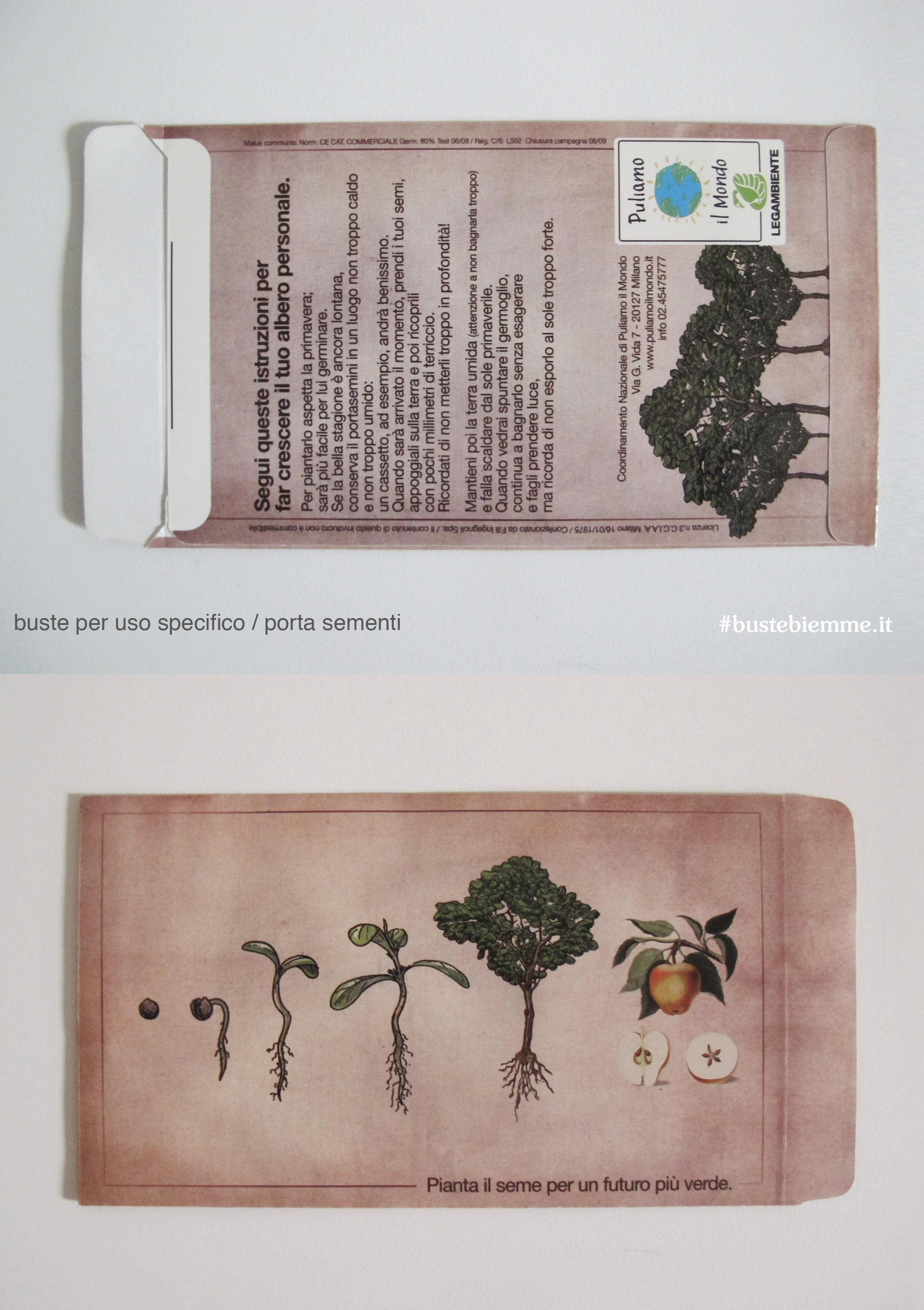 busta portasementi promozionale in carta monopatinata